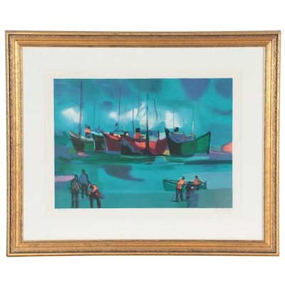 Marcel Mouly Lithograph of Harbor Scene, Late 20th Century