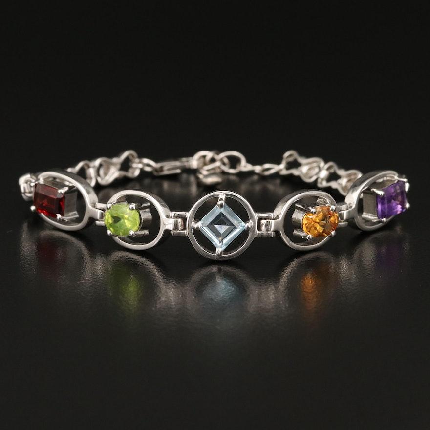 Sterling Silver Gemstone Bracelet Featuring Garnet, Topaz and Peridot