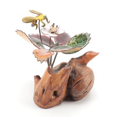 Norman Brumm Enamel on Copper Wild Strawberry and Bee Figurine on Burlwood Base