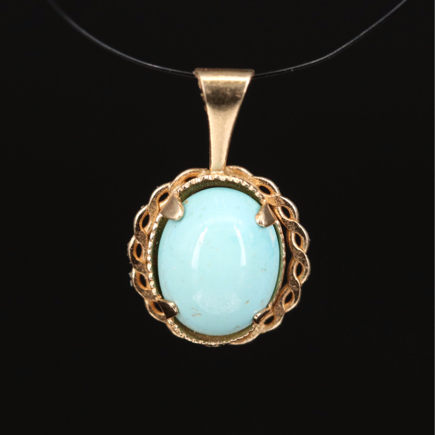 14K Turquoise Pendant with Scalloped Accent