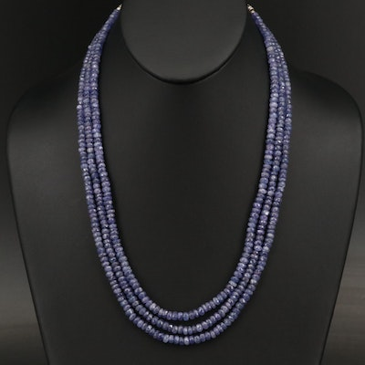 Sterling and Tanzanite Triple-Strand Necklace with Granulated Details