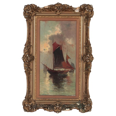 Charles D'Harville Seascape Oil Painting, Early 20th Century