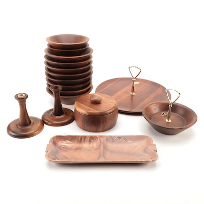 Vermillion Tray and Other Walnut Serving Trays Salad Bowls and Serveware
