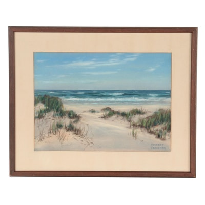 Herbert Foerster Pastel Drawing of Coastal Beach Scene, Mid-Late 20th Century