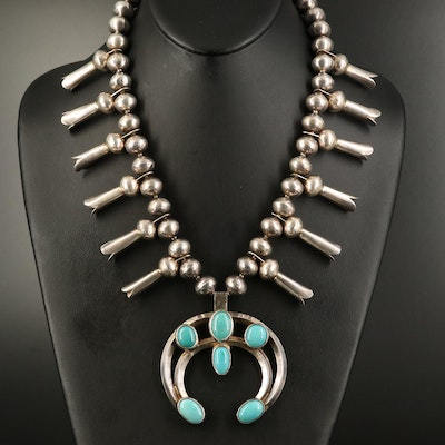 Southwestern Sterling Squash Blossom Necklace with Naja Pendant