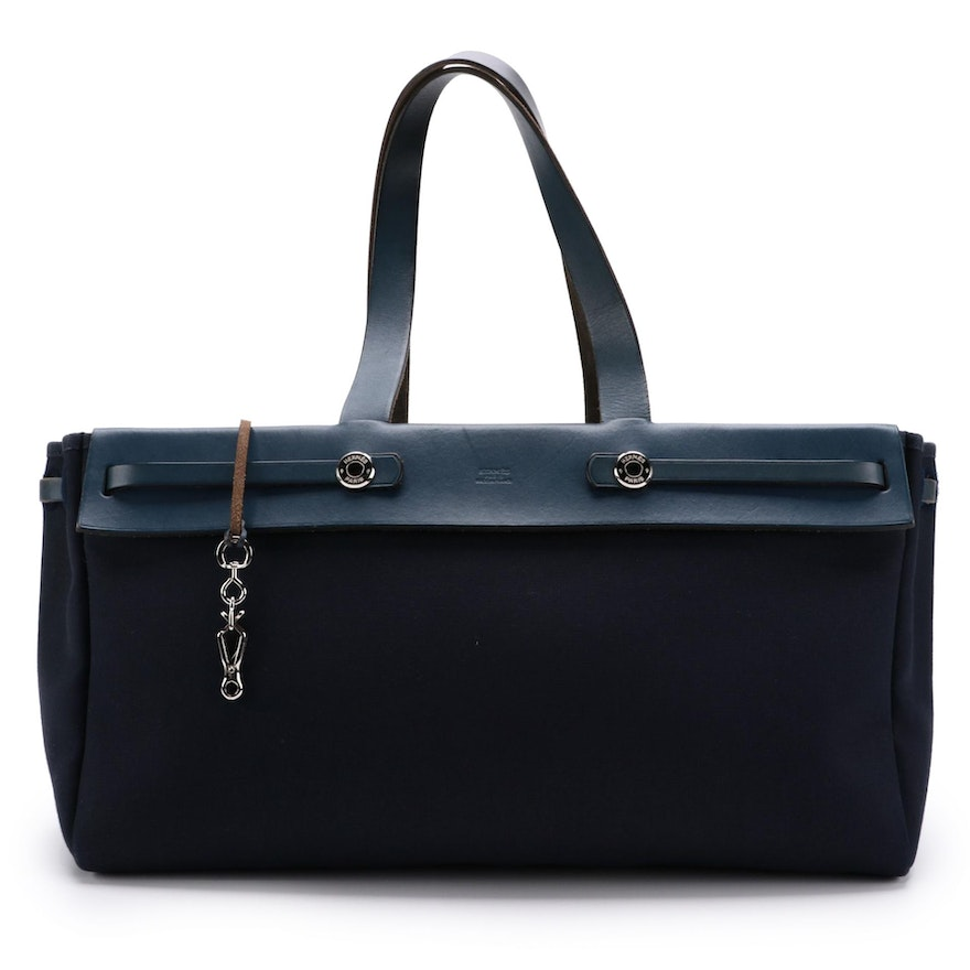 Hermès Herbag Cabas Navy Canvas and Leather Tote