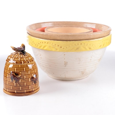Robinson Ransbottom and Other Stoneware Mixing Bowls with Ceramic Honey Pot
