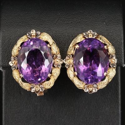 14K Tri-Color Gold 29.74 CTW Amethyst Foliate Earrings