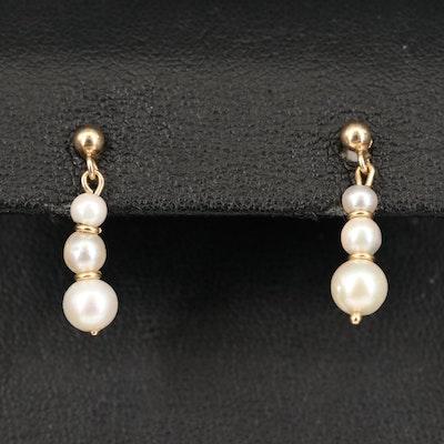 14K Graduated Pearl Earrings