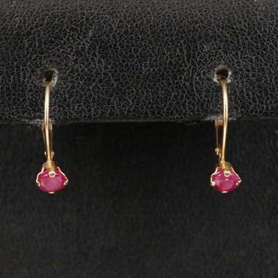 14K Round Faceted Ruby Earrings