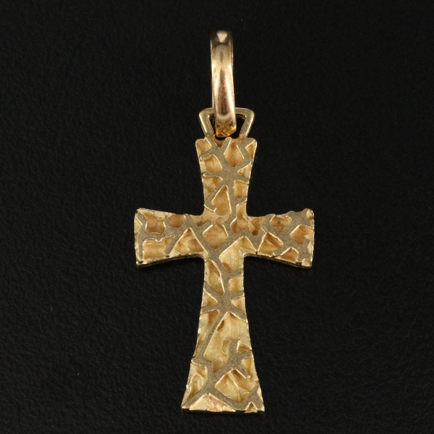 Italian 18K Textured Cross Pendant