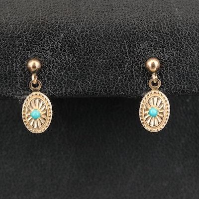 14K Imitation Turquoise Earrings