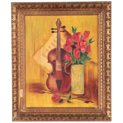 Still Life Oil Painting of Violin and Flowers, Late 20th Century