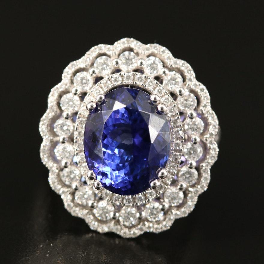 14K 8.03 CT Tanzanite and 1.75 CTW Diamond Triple Halo Ring