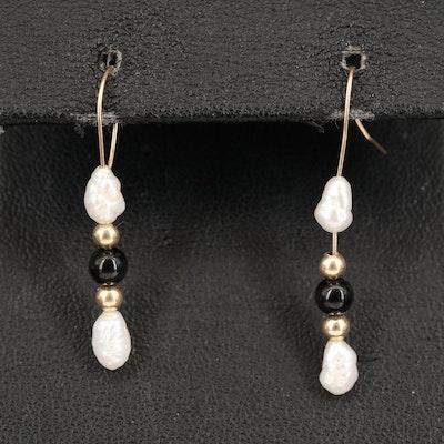 14K Pearl and Black Onyx Earrings