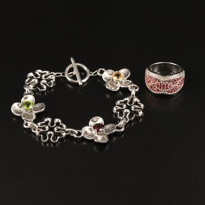 Sterling Band and Bracelet Including Rhodolite Garnet, Citrine and Peridot