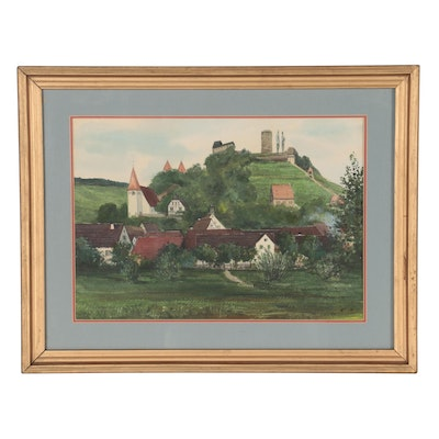 Watercolor and Gouache Painting of European Village, Mid-Late 20th Century
