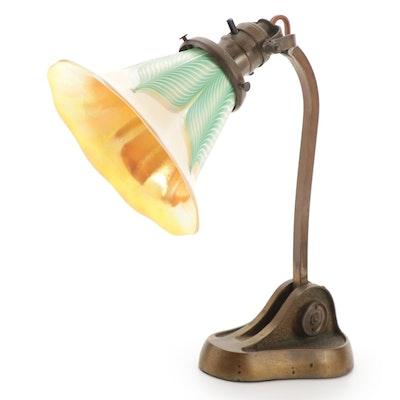 Quezal Feathered Art Glass Shade Brass Gooseneck Desk Lamp