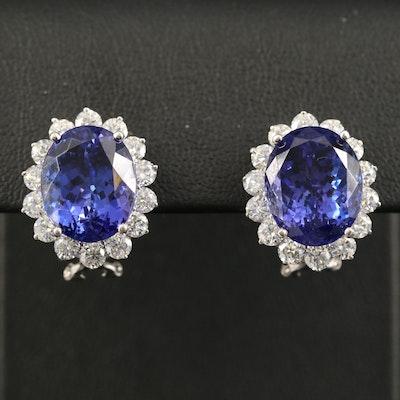 14K 17.20 CTW Tanzanite and 2.85 CTW Diamond Halo Earrings