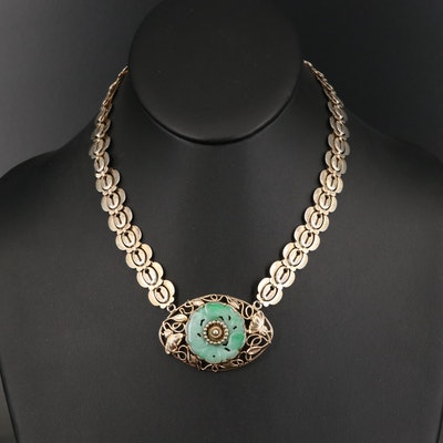 Art Nouveau Sterling Silver Jadeite Necklace with Floral Design