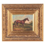 G. Ray Oil Painting of Chestnut Horse, Mid to Late 20th Century