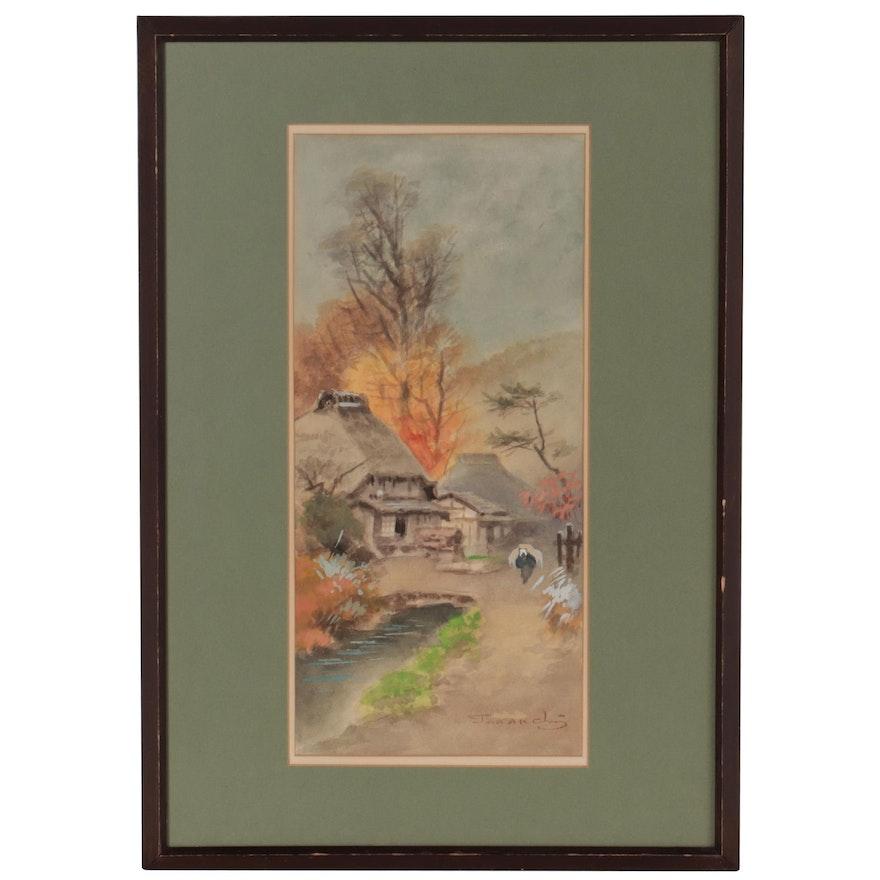 Terauchi Fukutaro Watercolor Painting of Village Landscape, Mid-20th Century