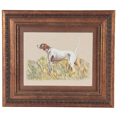Gouache Painting of American English Coonhound, Mid-Late 20th Century