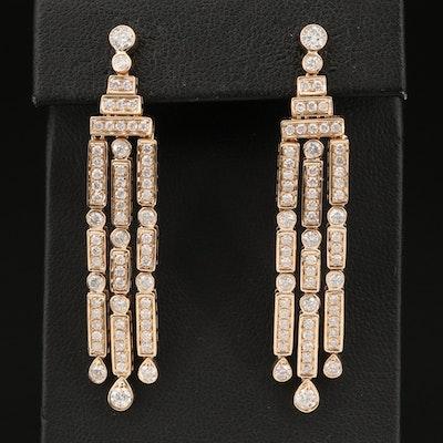 14K 2.45 CTW Diamond Geometric Dangle Earrings