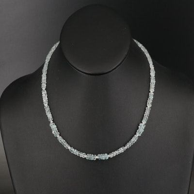 Aquamarine Beaded Necklace with 14K Clasp