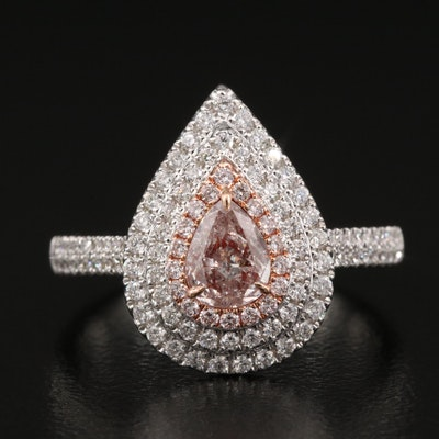 18K 0.90 CTW Diamond Halo Ring with GIA Report