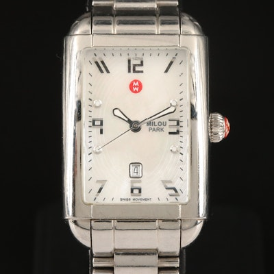 Michele Milou Park MOP Dial with Date Stainless Steel Wristwatch