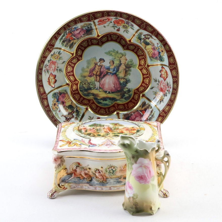Ardalt Capodimonte Style Gilt Casket Box with Rose Motif Pitcher and Metal Bowl