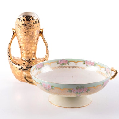 Haviland Porcelain Compote with 24 KT. Gold Decorated Vase, Mid-20th Century