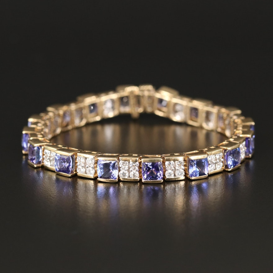 14K Tanzanite and 2.88 CTW Diamond Geometric Link Bracelet