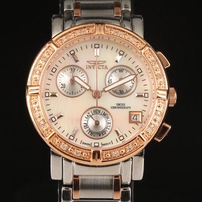 Invicta Wildflower Chronograph Diamond Two Tone Wristwatch