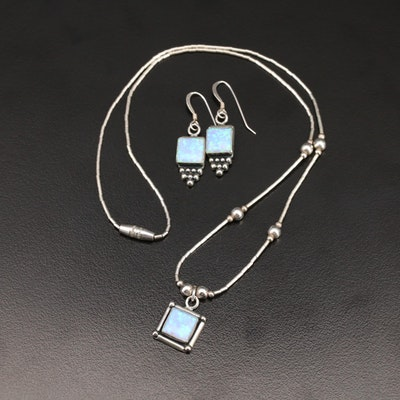 Sterling Opal Necklace and Earring Set