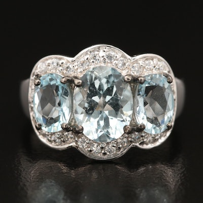 Sterling Silver Aquamarine and Cubic Zirconia Ring