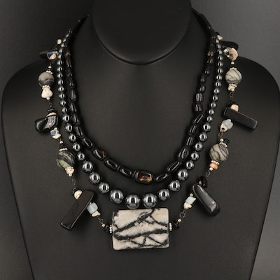Black Coral, Hematite and Marble Necklaces