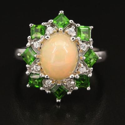 Sterling Opal, Diopside and Gemstone Ring