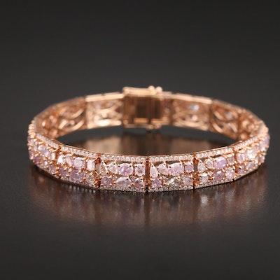 18K Rose Gold 13.23 CTW Diamond Bracelet with GIA Diamond Report