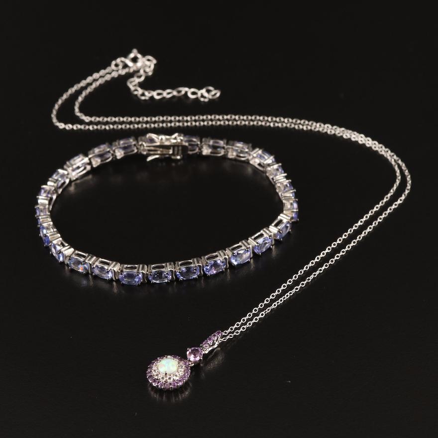 Sterling Tanzanite, Topaz and Opal Pendant with Corresponding Tanzanite Bracelet