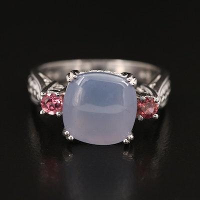 14K Chalcedony, Diamond and Gemstone Ring