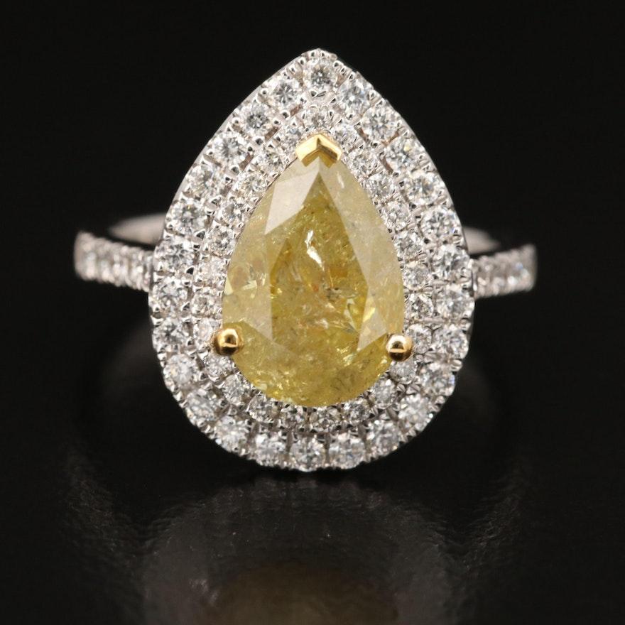 18K 3.65 CTW Diamond Double Halo Ring with GIA Diamond Report