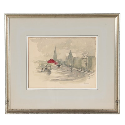 Ramier Ink and Watercolor Painting of Village Landscape, Mid-Late 20th Century