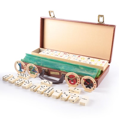 """Cardinal """"Rummy-O"""" Tile Game in Leather Carry Case, Mid-20th C."""