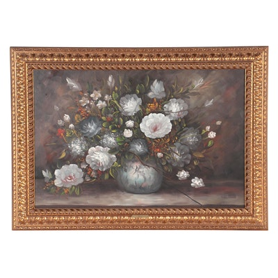 Still Life Oil Painting of Floral Arrangement, Late 20th Century