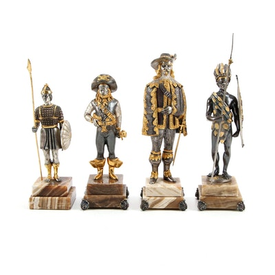 Anna Danesin and Other Gilt and Silver Bronze Warrior Figurines on Onyx Bases