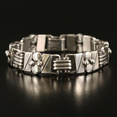 Modernist Alphonse La Paglia for International Sterling Fancy Link Bracelet