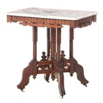 Victorian Marble Top Side Table in Mixed Woods, Late 19th Century