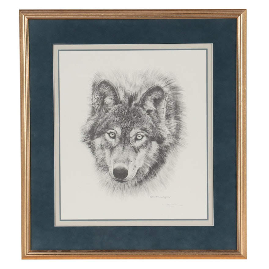 """Carl Brenders Offset Lithograph """"Wolf Head,"""" Late 20th Century"""